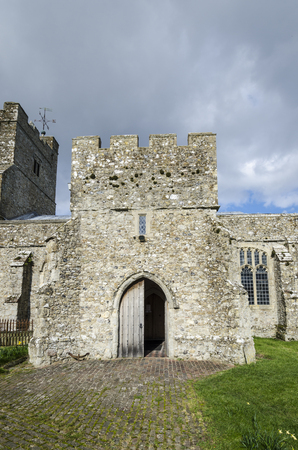 14th century: External view of  14th century St Georges church, Ivychurch, Romney Marsh, Kent, UK Stock Photo