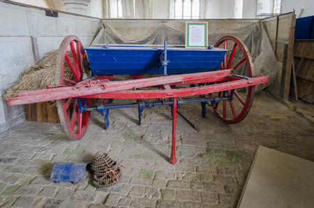 seed drill: Antique farm equipment, drill used for drilling wheat, peas, barley, oats and sugar beet