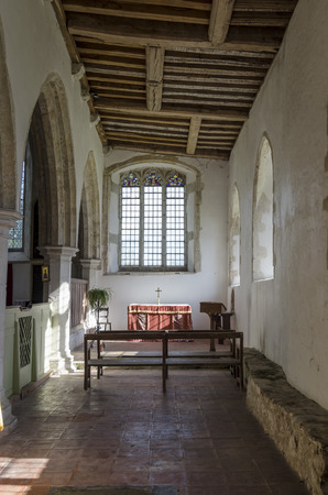 kent: Interior view of  14th century St Georges church, Ivychurch, Romney Marsh, Kent, UK Editorial