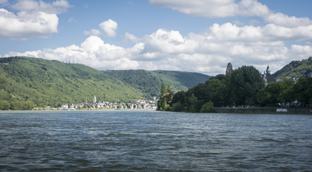 riverside tree: The River Rhine with Boppard on one bank and Kamp-Bornhofen on the other
