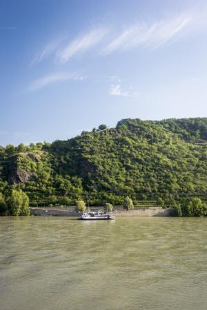 slipway: Car ferry on the river Rhine, Germany