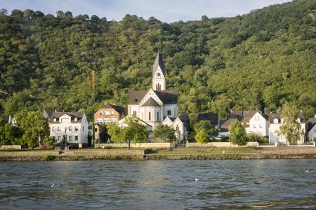 nikolaus: Kamp-Bornhofen and St Nikolaus Church on the River Rhine, Germany Stock Photo