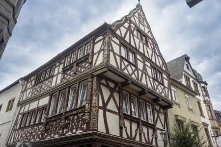 timbered: Half timbered building with ornately carved timbers, Boppard on the Rhine, Germany