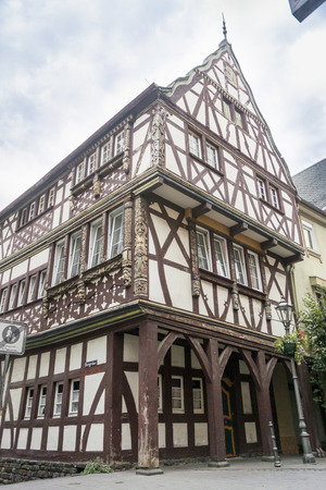 ornately: Half timbered building with ornately carved timbers, Boppard on the Rhine, Germany