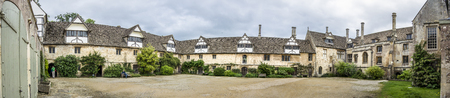 tudor: Panorama of the Tudor courtyard at Lacock Abbey, Wiltshire