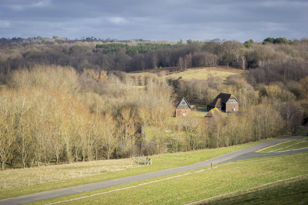 weald: Landscape view of the High Weald countryside in Kent, UK Stock Photo