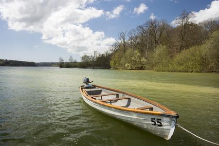 weald: Boat on Bewl Water reservoir in High Weald, Kent, UK