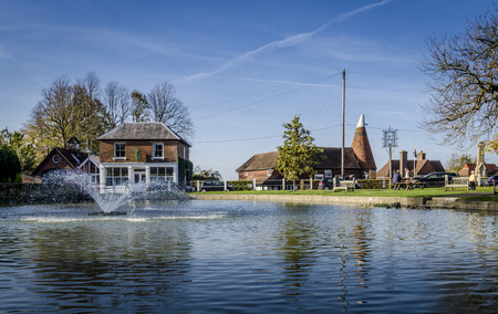 weald: Pond and fountain in the pretty village of Goudhurst, Kent, UK