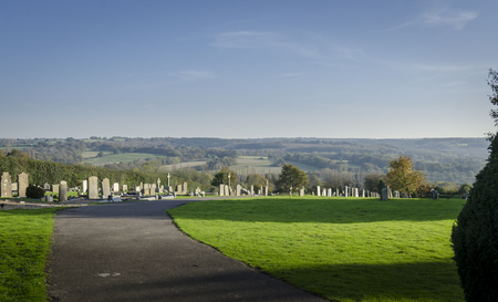 weald: Goudhurst graveyard with a view of the Weald of Kent countryside Stock Photo