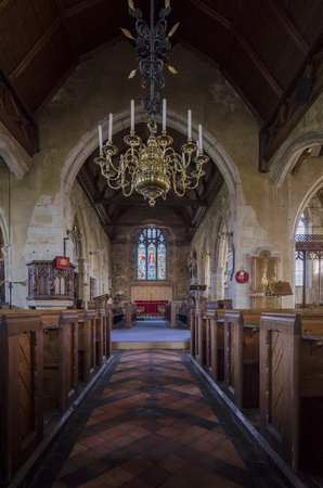 pews: Interior of St Marys church in the pretty village of Goudhurst, Kent, UK Editorial