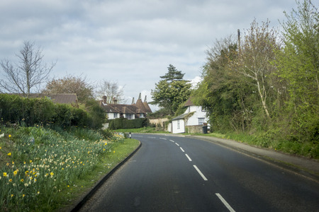 weald: View of the street and oast houses in the High Weald area of the Kent countryside, UK Stock Photo