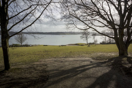 weald: View of Bewl reservoir, picnic area and yachts sailing on the water