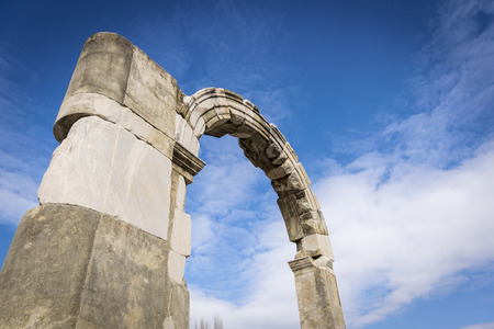 Arch ruin in the ancient city of Ephesus in Selcuk, Turkey Stock Photo