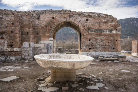 Baptismal font in the church of Mary in the ancient city of Ephesus in Selcuk, Turkey