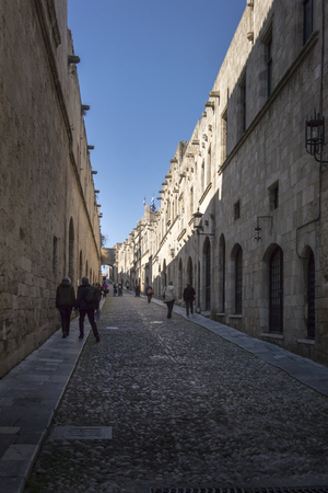 View of a street in the medieval town of Rhodes, Greece Redakční