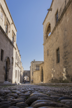 View of a street in the medieval town of Rhodes, Greece Reklamní fotografie