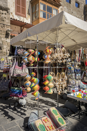 Souvenirs stall in the ancient city of Rhodes, Greece