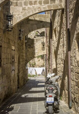 Stone passage in the ancient city of Rhodes, Greece
