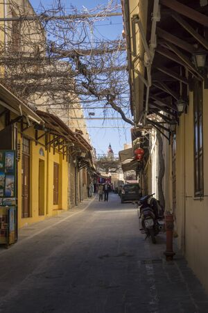 Medieval street in the old town of Rhodes, Greece
