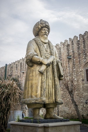 Bronze statue of Okuz Mehmet Pasha, an Ottoman statesman and military commander of the early 17th century, Governor of Egypt 1607-1611, Kusadasi, Turkey