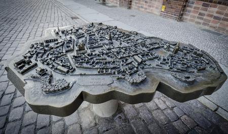 Bronze scale model of the town of Stralsund in Germany with braille description