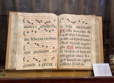 A 16th century Spanish Dominican Antiphoner (services book) in Chichester Cathedral, West Sussex, UK