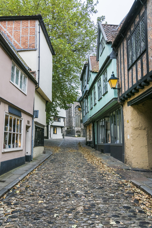Ancient English cobbled street of Elm Hill, Norwich, Norfolk, UK