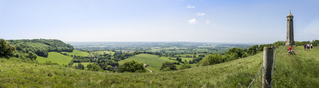 Panorama of the Tyndale Monument and view, near to North Nibley, Gloucestershire, Great Britain