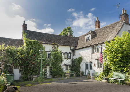 Rear of the Ancient Ram Inn, former 12th century public house, reported to be one of the most haunted buildings in the country, Wotton-under-Edge, Gloucestershire, UK