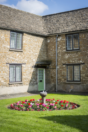 Almshouses and garden in Wotton-under-Edge, Gloucestershire, UK