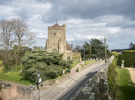 View of Saint Mary's Church from the walls of Battle Abbey, Battle, East Sussex, England, UK