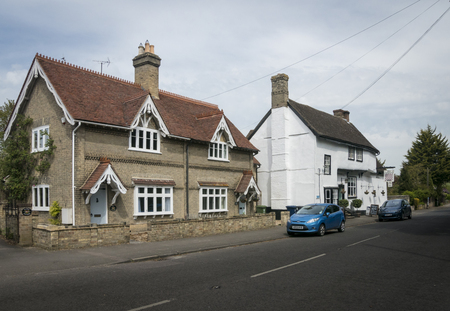 FView of the High Street and Chequers Public House, Fowlmere, Cambridgeshire, UK