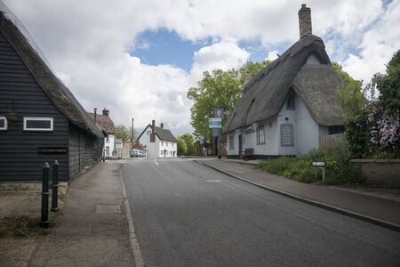 View of Long Lane in the village of Fowlmere, Cambridgeshire, England, UK