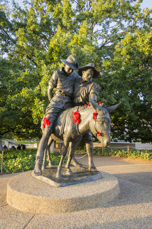 A statue of Simpson and his donkey, field ambulance in Canberra, ACT, Australia Stock Photo