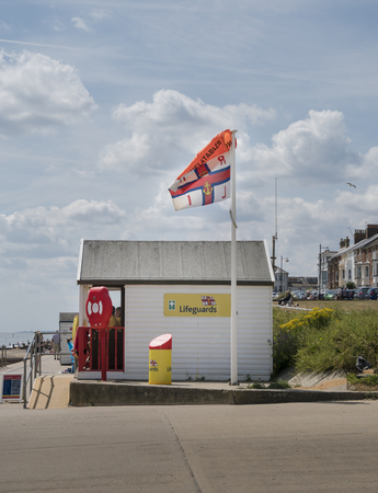 The lifeguard hut on the seafront at Southwold, Suffolk UK