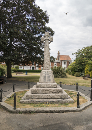 War memorial cross in the seaside town of Southwold, Suffolk UK Stock Photo