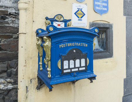 Ornate vintage post box in the town of Cochem, Germany