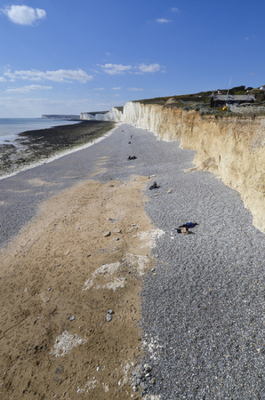 Aerial view of Birling Gap and the Seven Sisters Country Park Standard-Bild - 121438203