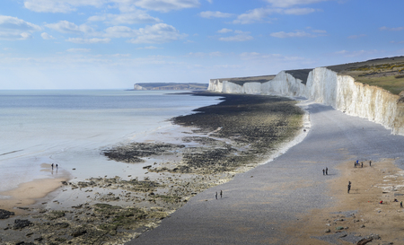 Aerial view of Birling Gap and the Seven Sisters Country Park Standard-Bild - 121438205