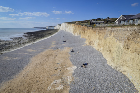 Aerial view of Birling Gap and the Seven Sisters Country Park Standard-Bild - 121438208