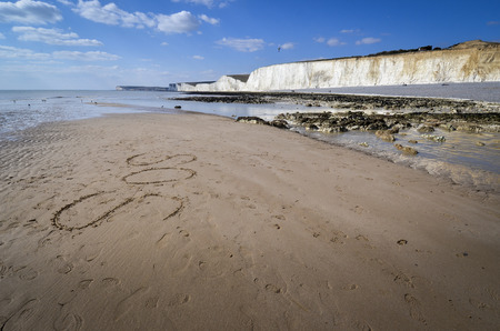 Birling Gap and the Seven Sisters Country Park Standard-Bild - 121438211