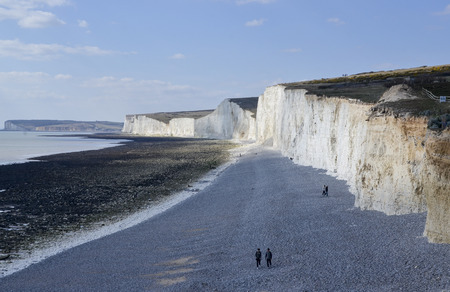 Aerial view of Birling Gap and the Seven Sisters Country Park Standard-Bild - 121438225