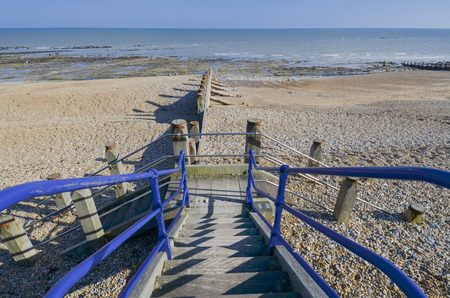 Steps leading down to the beach at Eastbourne, East Sussex, UK Standard-Bild - 121438410