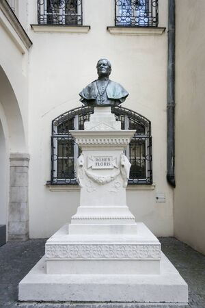 Romer Floris monument in the Old Town Hall courtyard in the ancient city of Bratislava, Slovakia