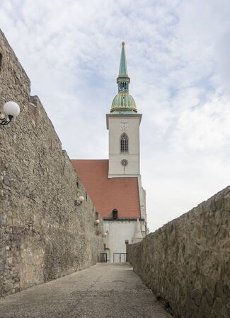 Saint Martins Cathedral from the old city wall in the ancient city of Bratislava, Slovakia Stock Photo
