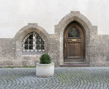 A Gothic door and window on an old Austrian cottage