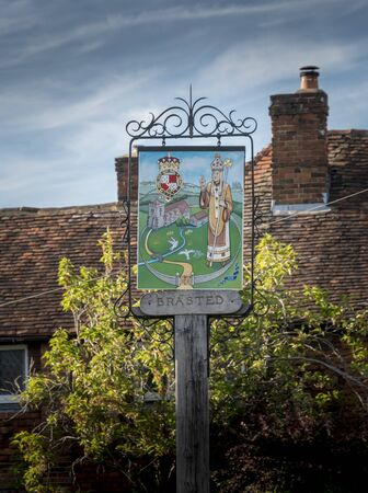 Decorative sign of the ancient village of Brasted, Kent, UK Фото со стока
