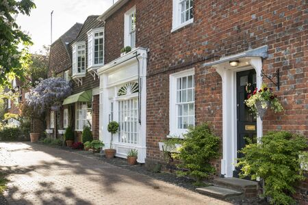 A row of terraced houses in an English village