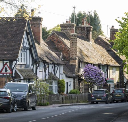 Ancient timber framed cottages in the ancient village of Brasted, Kent, UK