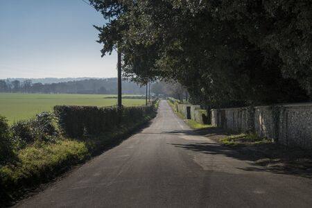 A straight country lane in the Kent countryside in Spring Фото со стока
